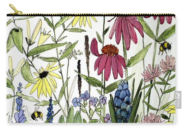 Garden Flowers With Bees Carry-all Pouch