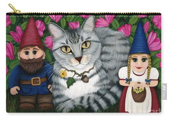Garden Friends - Tabby Cat And Gnomes Carry-all Pouch