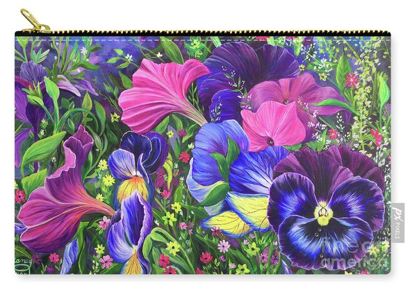 Carry-all Pouch featuring the painting Garden Party by Nancy Cupp