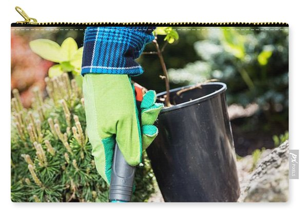 Gardener Digging With A Shovel. Carry-all Pouch