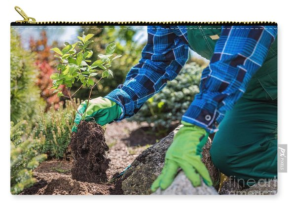 Gardener Planting New Tree In A Garden. Carry-all Pouch