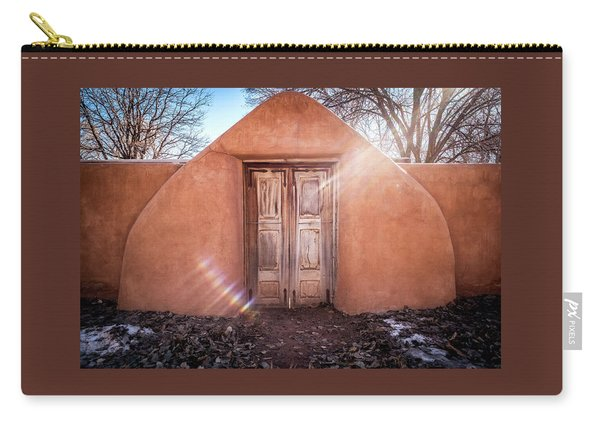 Carry-all Pouch featuring the photograph Gate At Galisteo by Mary Lee Dereske