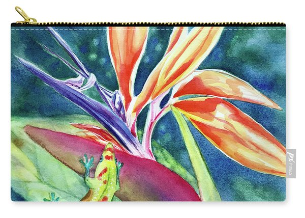 Gecko On Bird Of Paradise Carry-all Pouch