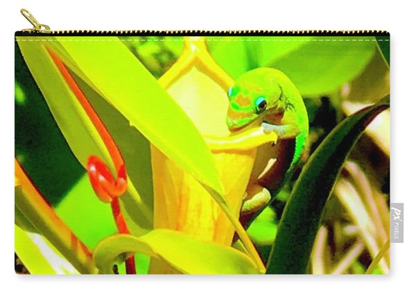 Gecko On Mosquito Catcher Orchid Carry-all Pouch