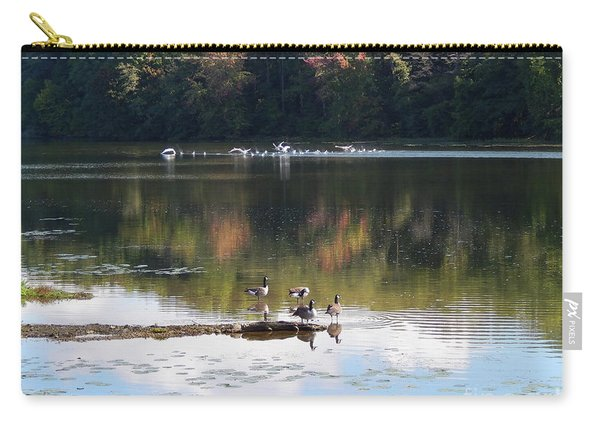 Geese At Rest And Flying Carry-all Pouch