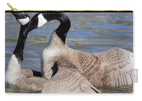 Carry-all Pouch featuring the digital art Geese In Love by Margarethe Binkley