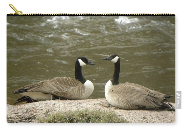 Carry-all Pouch featuring the photograph Geese Platt River Deckers Co by Margarethe Binkley