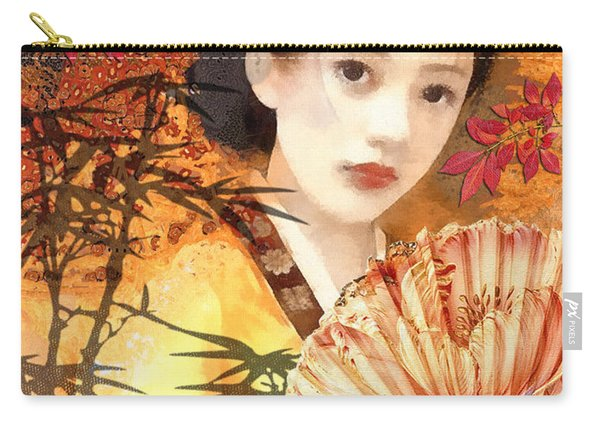 Geisha With Fan Carry-all Pouch