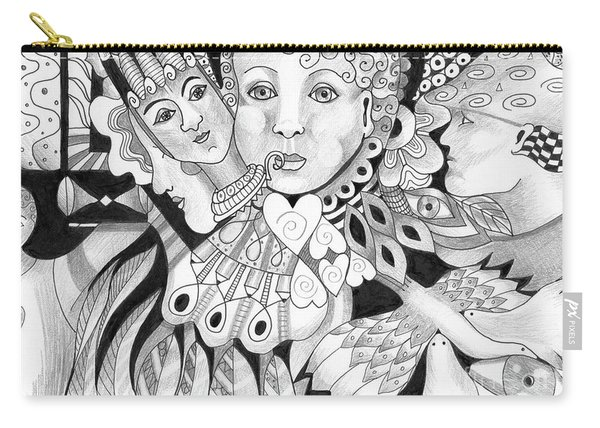 Carry-all Pouch featuring the drawing Gentle And Savage by Helena Tiainen