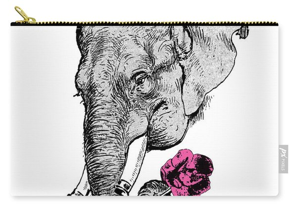 Gentleman Elephant With Pink Rose Carry-all Pouch