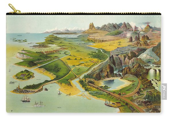 Geographical Definitions Illustrated - Old Illustrated Atlas - Historic Chart - Antique Atlas Chart Carry-all Pouch