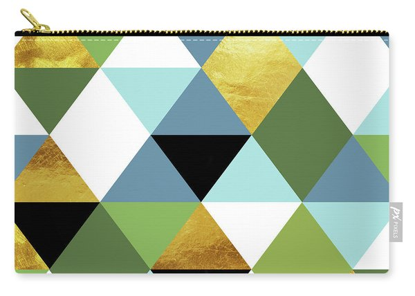 Geometric Abstract 81, Triangles, Gold, Greenery, Niagara, Kale Carry-all Pouch