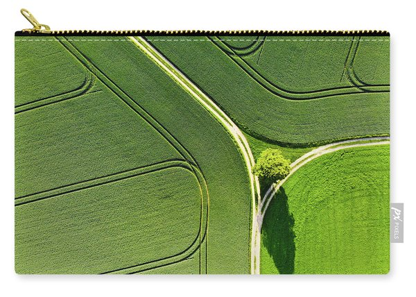 Geometric Landscape 05 Tree And Green Fields Aerial View Carry-all Pouch