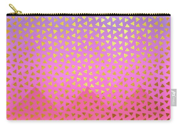 Geometry, Golden Triangles Over Colorful Chevron Pattern Carry-all Pouch