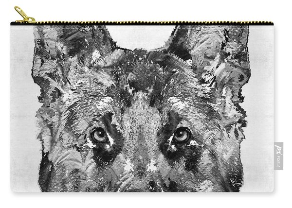 German Shepherd Black And White By Sharon Cummings Carry-all Pouch