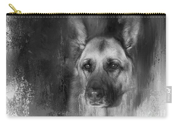 German Shepherd In Black And White Carry-all Pouch