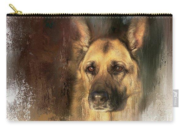 German Shepherd Portrait Color Carry-all Pouch