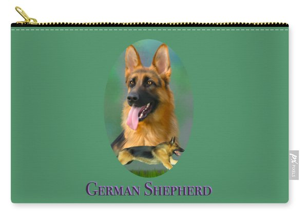 German Shepherd With Name Logo Carry-all Pouch