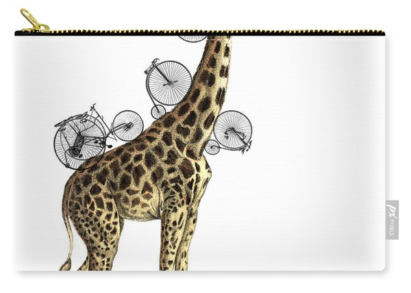 Giraffe And Bicycles Carry-all Pouch