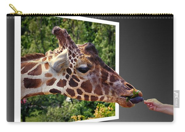 Giraffe Feeding Out Of Frame Carry-all Pouch