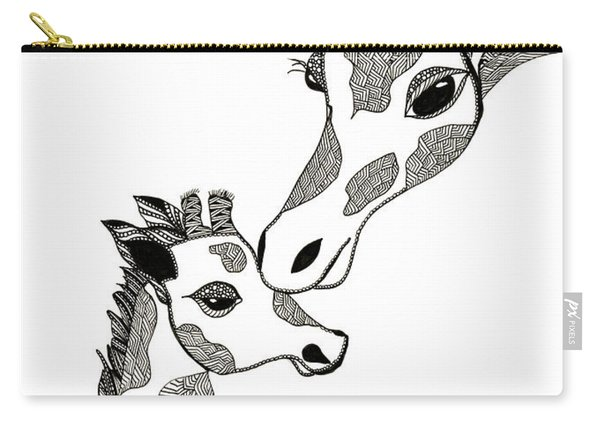 Carry-all Pouch featuring the drawing Giraffe Mom And Baby by Barbara McConoughey