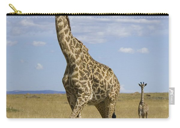 Giraffe Mother And 3 Week Old Calf Carry-all Pouch