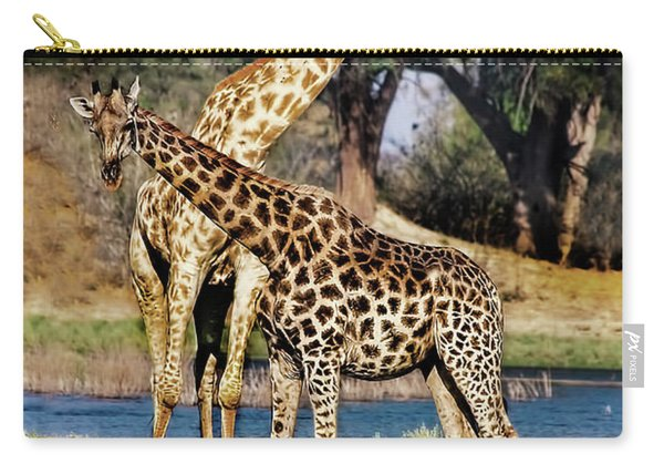 Giraffe Mother And Calf Carry-all Pouch