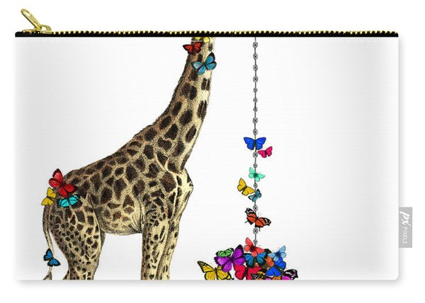 Giraffe With Colorful Rainbow Butterflies Carry-all Pouch