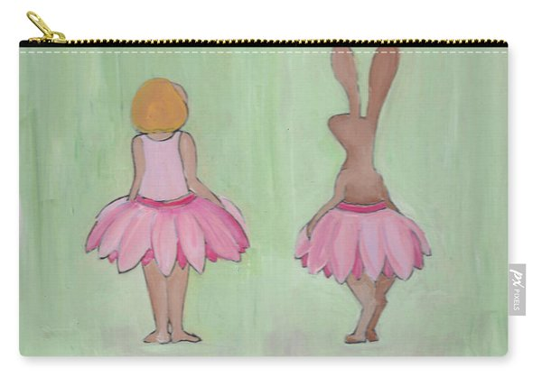 Girl And Bunny In Pink Tutus Carry-all Pouch