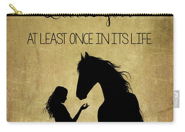 Girl And Horse Silhouette Carry-all Pouch