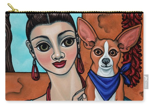 Girl Holding Chihuahua Art Dog Painting  Carry-all Pouch