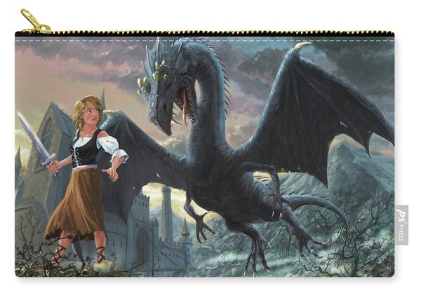Carry-all Pouch featuring the digital art Girl With Dragon Fantasy by Martin Davey