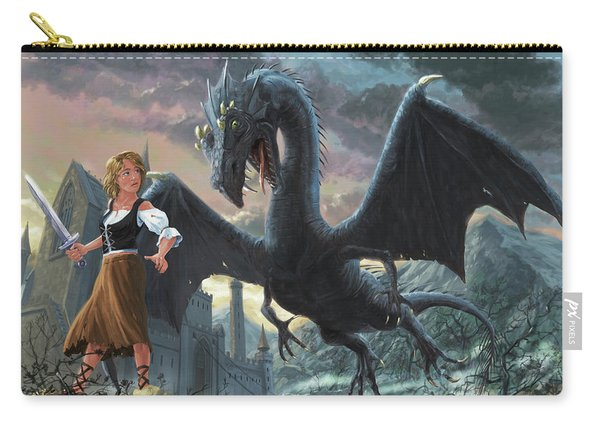 Girl With Dragon Fantasy Carry-all Pouch