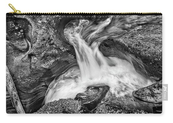 Glacier National Park's Avalanche Gorge In Black And White Carry-all Pouch