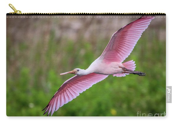 Carry-all Pouch featuring the photograph Gliding Spoonbill by Tom Claud