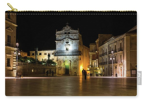 Glossy Outdoor Living Room - St Lucy Church On Piazza Del Duomo In Syracuse Sicily Carry-all Pouch