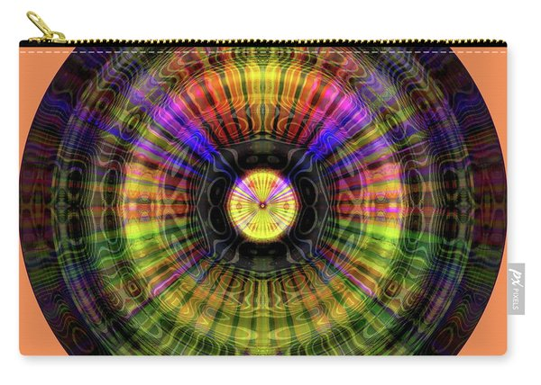 Carry-all Pouch featuring the digital art Glow Wheel Seven by Visual Artist Frank Bonilla