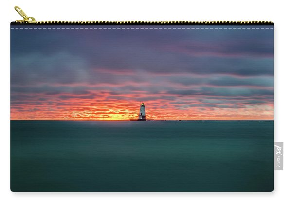 Glowing Sunset On Lake With Lighthouse Carry-all Pouch