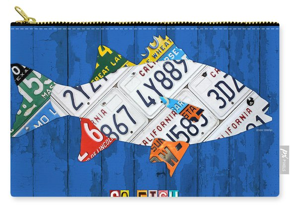 Go Fish Freshwater Bass Recycled Vintage License Plate Art Carry-all Pouch