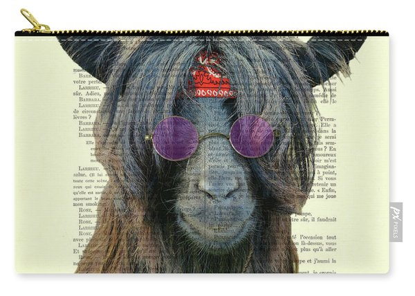 Goat In Hippie Clothes With Purple Glasses And Peace Necklace Carry-all Pouch