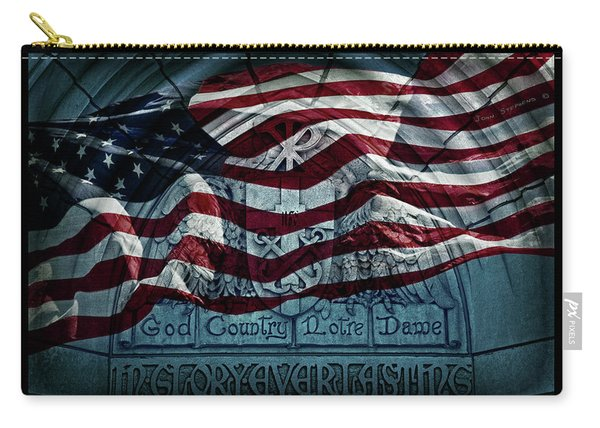 God Country Notre Dame American Flag Carry-all Pouch