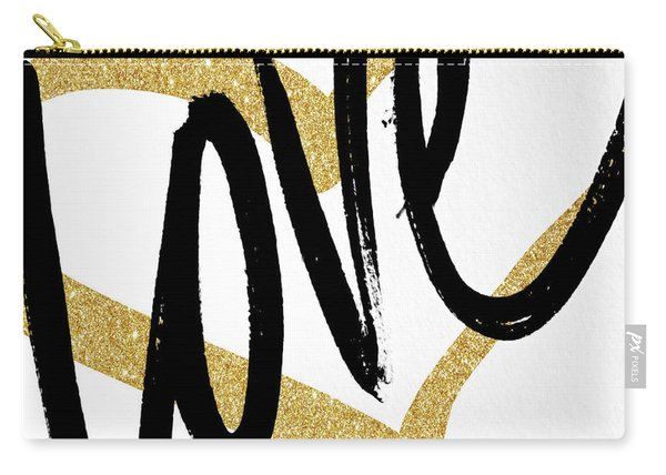 Gold Heart Black Script Love Carry-all Pouch