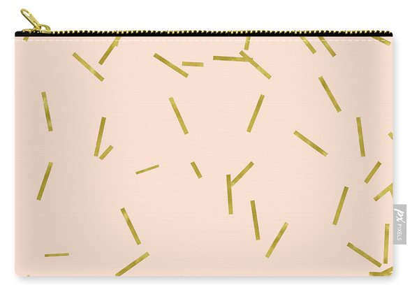 Gold Matchstick Confetti Print On Angel Pink Carry-all Pouch