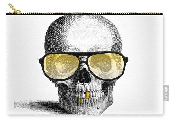 Skull With Gold Teeth And Sunglasses Carry-all Pouch