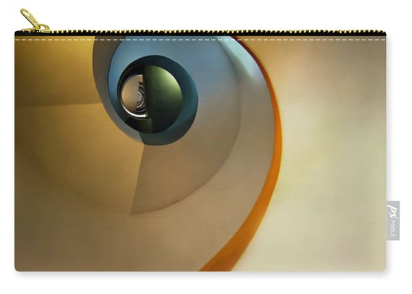 Carry-all Pouch featuring the photograph Golden And Brown Spiral Staircase by Jaroslaw Blaminsky