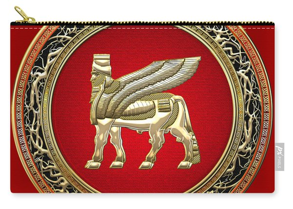 Golden Babylonian Winged Bull  Carry-all Pouch