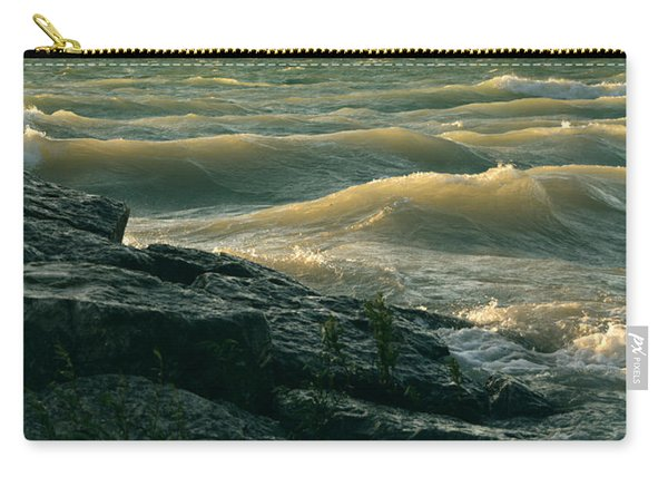 Golden Capped Sunset Waves Of Lake Michigan Carry-all Pouch