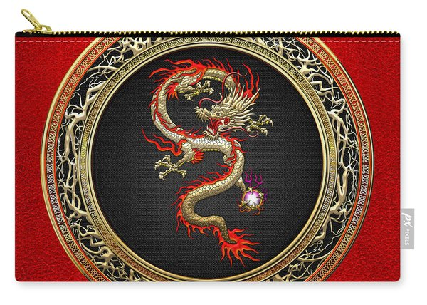 Golden Chinese Dragon Fucanglong On Red Leather  Carry-all Pouch