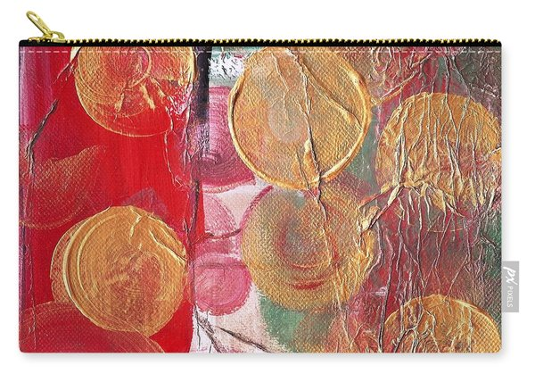 Golden Circles On Red And Green Carry-all Pouch