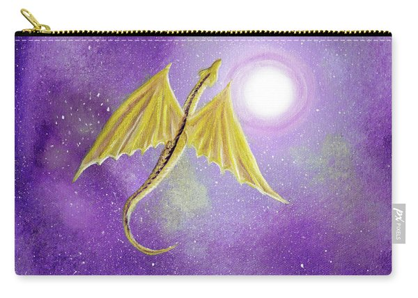 Golden Dragon Soaring In Purple Cosmos Carry-all Pouch
